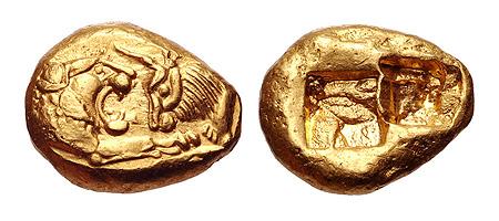 """מטבע קדום מלידיה, המאה החמישית לפניה""""ס"""
